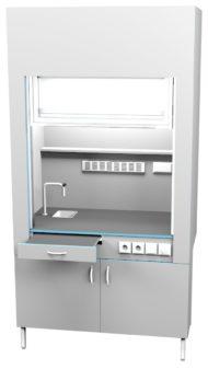 Шкаф вытяжной с сантехникой ШВ НВК 1200 НЕРЖ+ (1200x716x2200)
